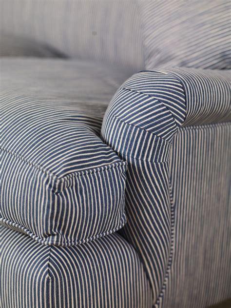 blue stripe roll arm furnishings patterned