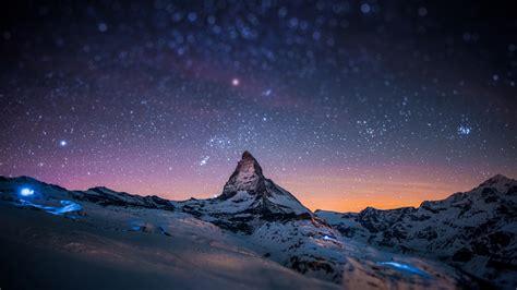 hd mountains night sky blurred stars light show wallpaper wallpapersbyte