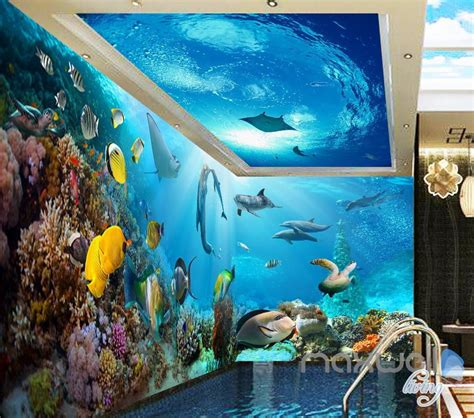 tropical fish coral underwater entire living room