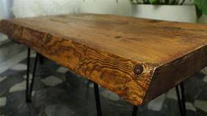 rustic coffee table with hairpin legs shumatsu distortion With how to make a rustic coffee table