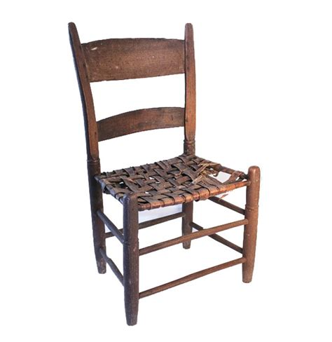 Small Antique Chair With Woven Leather Seat Ebth