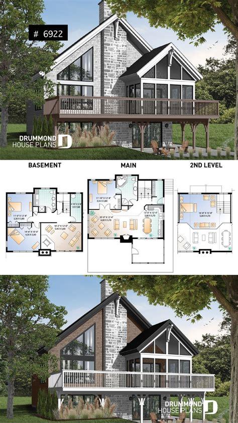 rustic cottage plan scandinavian style home  open loft  mezzanine   bedrooms