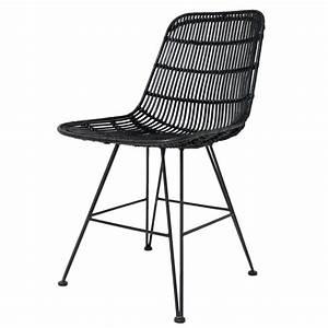 Chaise Rotin Metal : hk living salle manger chaise en m tal rotin noir ~ Teatrodelosmanantiales.com Idées de Décoration