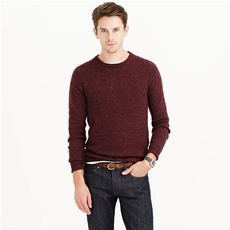 mens patch sweater j crew slim rustic merino patch sweater in purple