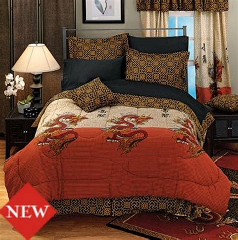 asian inspired classic dragon comforter set with chinese