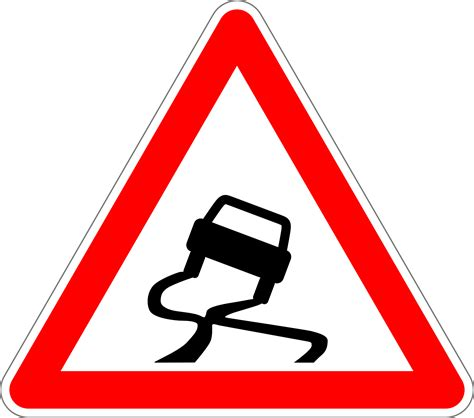 Warning sign slippery road free image