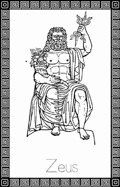 Zeus Coloring God Greek Pages μυθολογια Gods