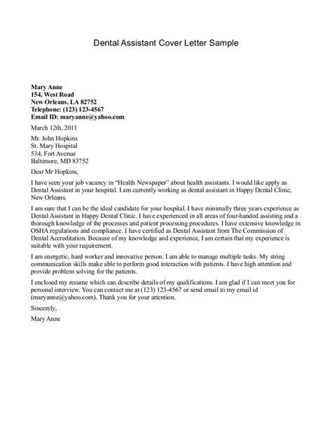Student Services Coordinator Cover Letter Dental Assistant Cover Letter Sle Sle Cover Letters