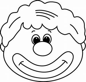 Black and White Clown Face Clip Art - Black and White ...