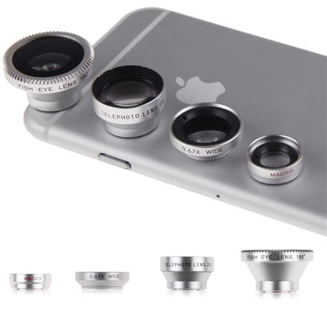 iphone zoom lens magnetic 4in1 fish eye telephoto wide angle micro lens for