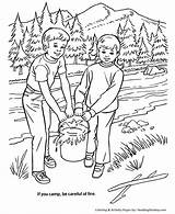 Coloring Pages Fire Arbor Forest Camping Safety Honkingdonkey Trees Clipart Colouring Put Camp Nature Tree Planting Plant Care Holiday Arbour sketch template