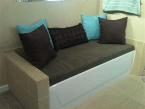bathtub bench   piece  plywood  foam wrapped