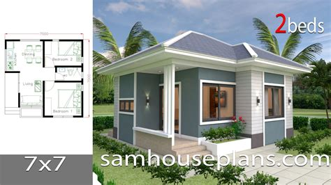 Small House Design Plans 7x7 with 2 Bedrooms in 2020