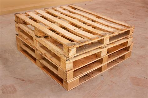 wooden shipping pallet  standard dimensions stock image