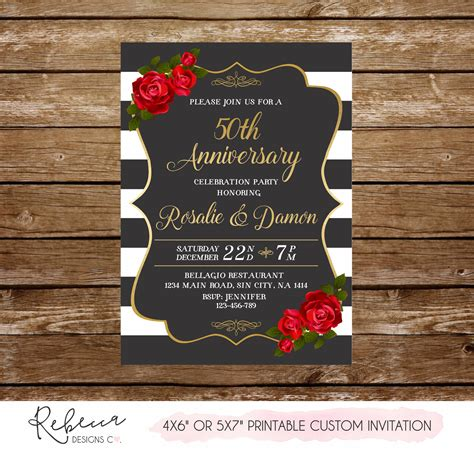 50 anniversary invitation roses anniversary party 50th