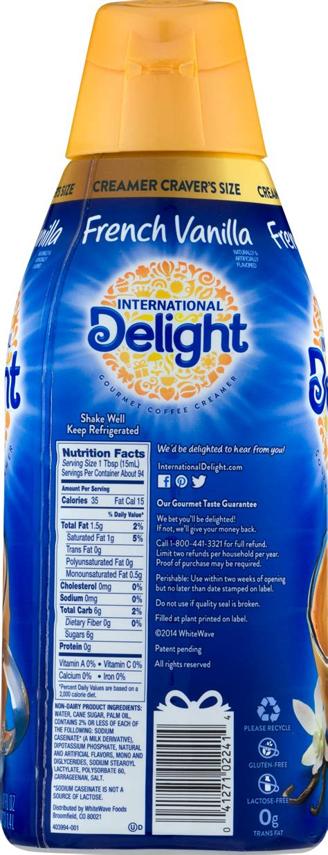 15 calories, nutrition grade (c minus), problematic ingredients, and more. international delight creamer ingredients