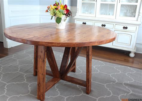 circle farmhouse table trestle dining table free diy plans rogue engineer 2210