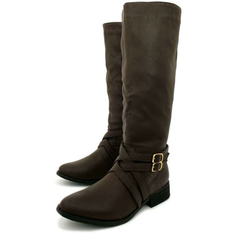 womens brown leather biker boots womens brown leather style biker knee high stretch buckle
