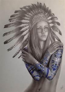 Native Girl Tattoo - The art of Davide Franceschini