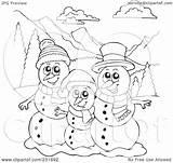 Snowman Coloring Outline Landscape Clipart Illustration Royalty Mountainous Visekart Rf sketch template