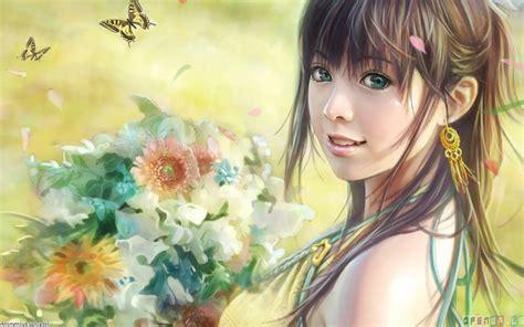 Zanan Ziba Beautiful Anime Girl With Green Eyes Wallpaper 2253