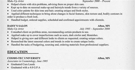Todays Resumes Sles by Make Up Artist Resume Sle Resumecompanion