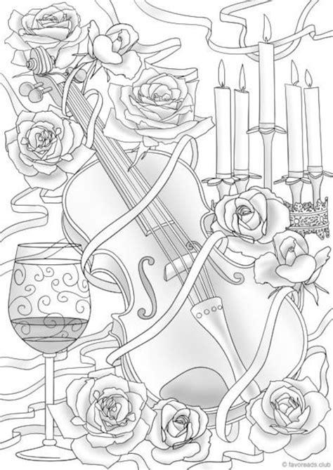 violin  flowers printable adult coloring page