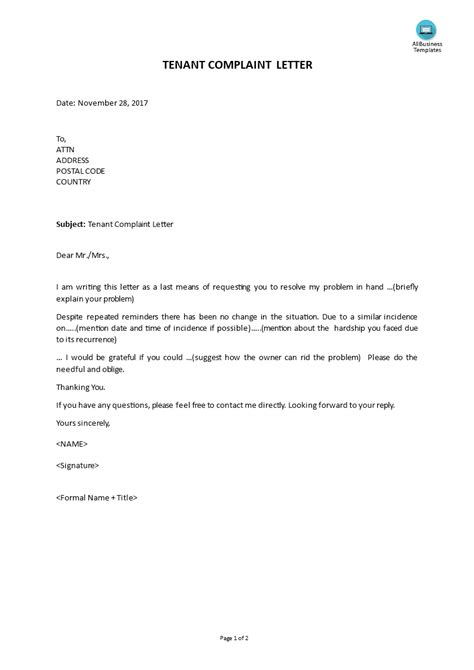 Complaint Letter From Tenant | Templates at