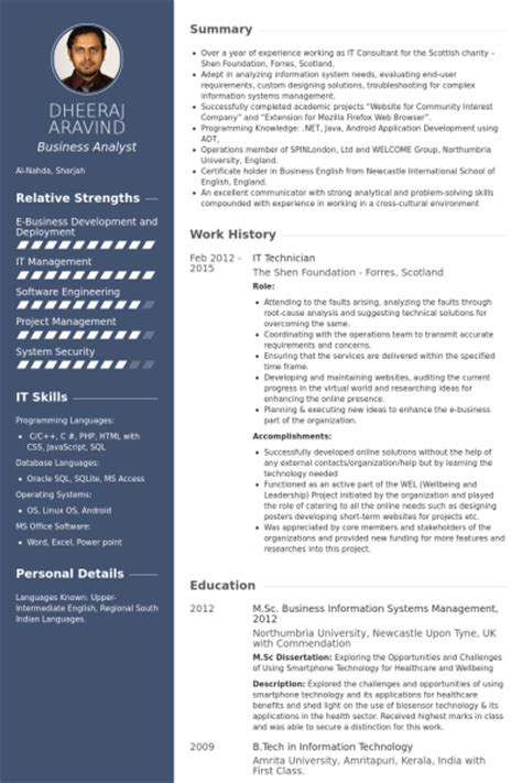 it technician resume sles visualcv resume sles