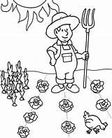 Coloring Farmer Worksheet Printable Garden Spring Children Vegetables sketch template