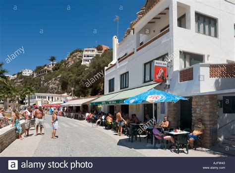 Beachfront Cafe Bar In Calan Porter Menorca Spain Stock
