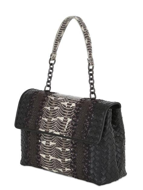 lyst bottega veneta olympia intreccio leather snake bag  black
