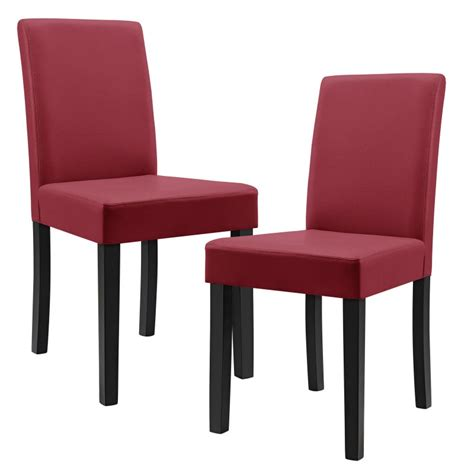 chaises rouges 8 chaises en simili cuir pieds en bois pour toutes