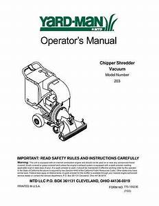 Mtd Chipper Shredder Vacuum Manual Model 103a  U0026 203b