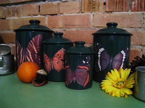 Green Canister Sets Kitchen by Green Butterfly Kitchen Canister Set Kitchen Decor