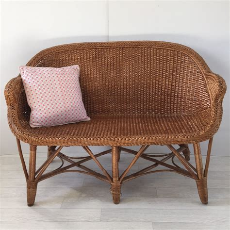 banquette canape vintage rattan wicker settee sofa 2 seater banquette