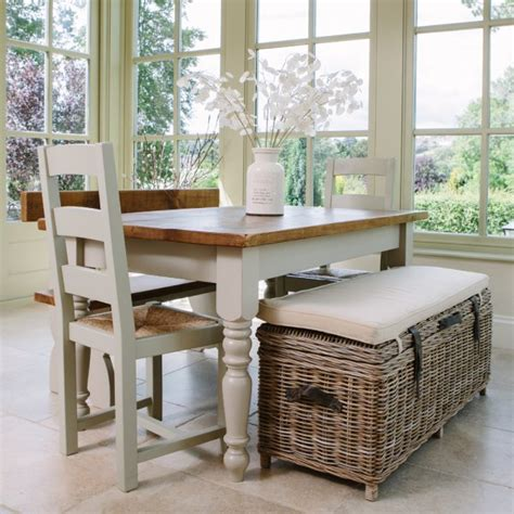 Bench Table With Storage by Cove Rustic Rattan Bench