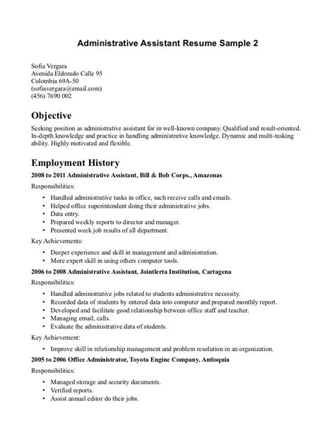 Resume Examples Objective For Office Assistant Sample