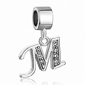 sale cheap new jewelry clear birthstone crystal letter m With pandora letter m