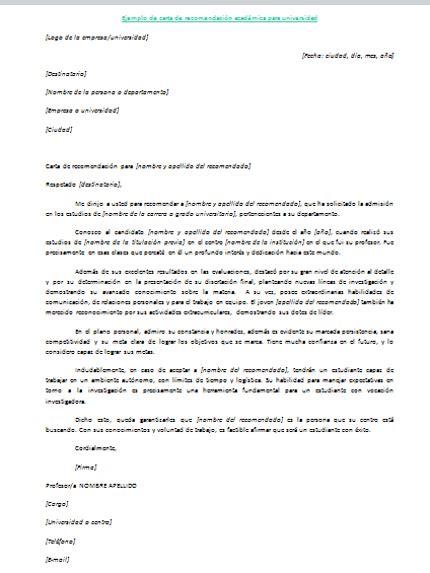 recommendation letter  spanish   employee