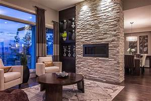 ledgestone fireplace Living Room Contemporary with coffee ...