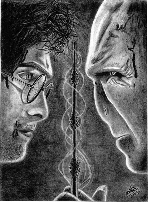 Harry Potter VS Voldemort Charcoal Drawing Print | Etsy