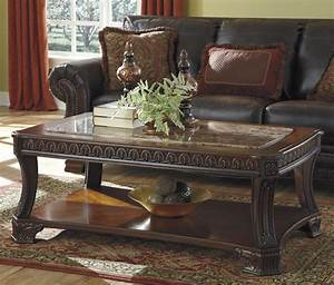 signature design by ashley ledelle old world rectangular With marble look coffee table