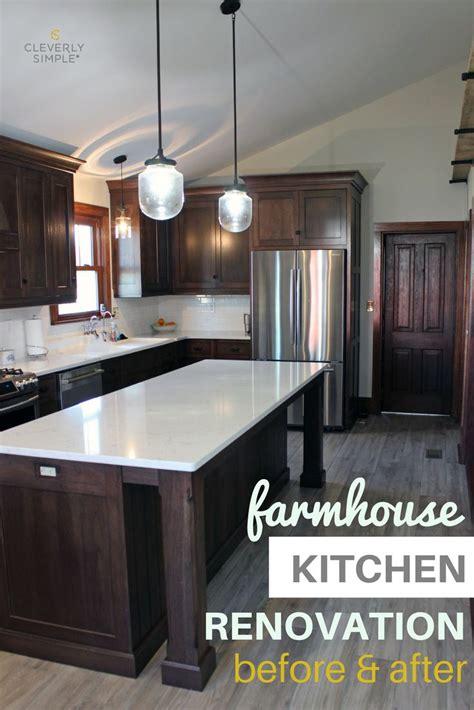 farmhouse kitchen renovation   dark wood