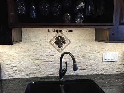 Small Kitchen Backsplash medallions   mosaic stone and