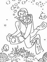 Scuba Coloring Diving Pages Printable Mycoloring sketch template