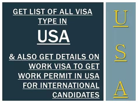 What Are Different Visas To Work In Us?