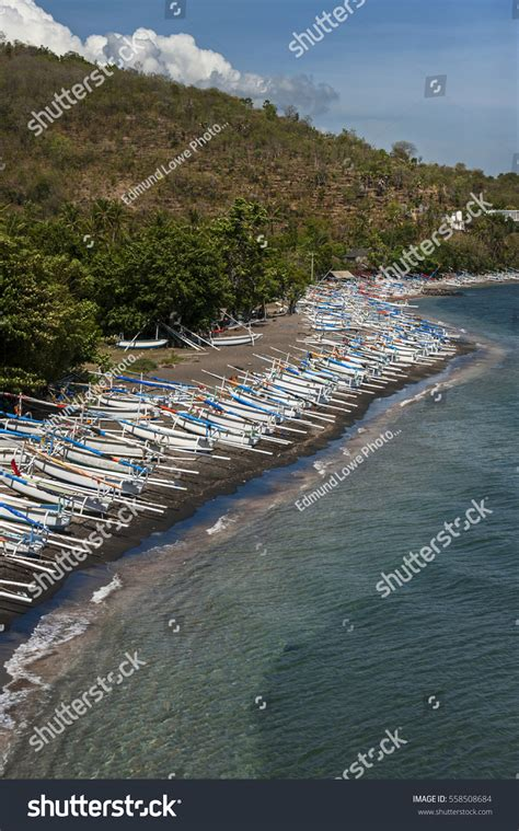 Balinese Fishing Boat by Balinese Fishing Boats Amed Bali Indonesia Stock Photo