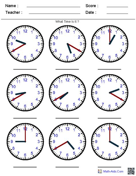 generate random clock worksheets for pre k kindergarten