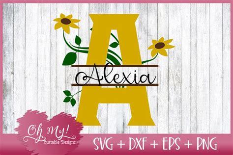 split sunflower letters   monograms  designs  svgs design bundles